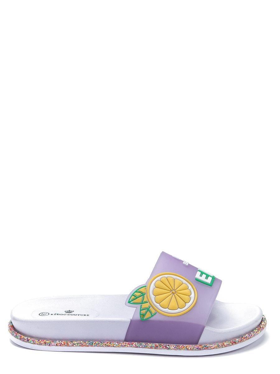 Шлепанцы сиреневого цвета с принтом | 5743306