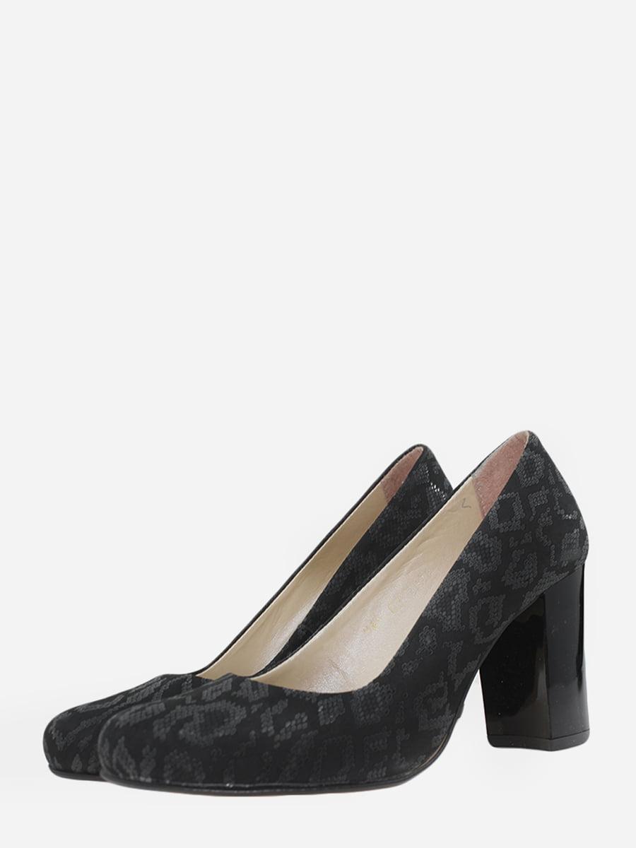 Туфлі чорні з анімалістичним візерунком | 5751196