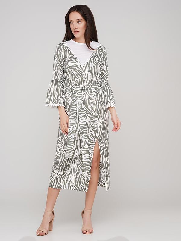 Платье бело-зеленое в принт   5769455