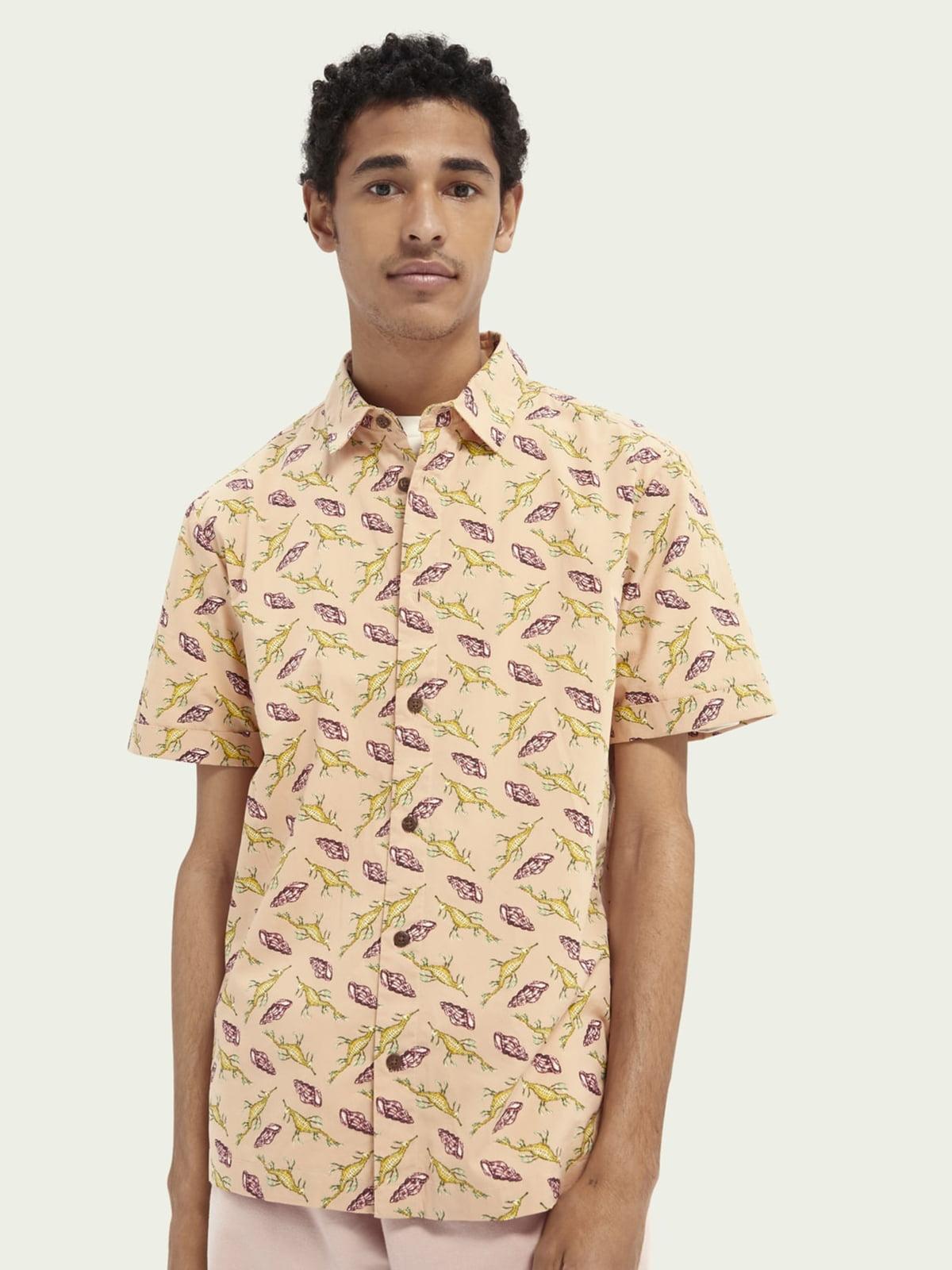 Рубашка бежевая в принт | 5771064