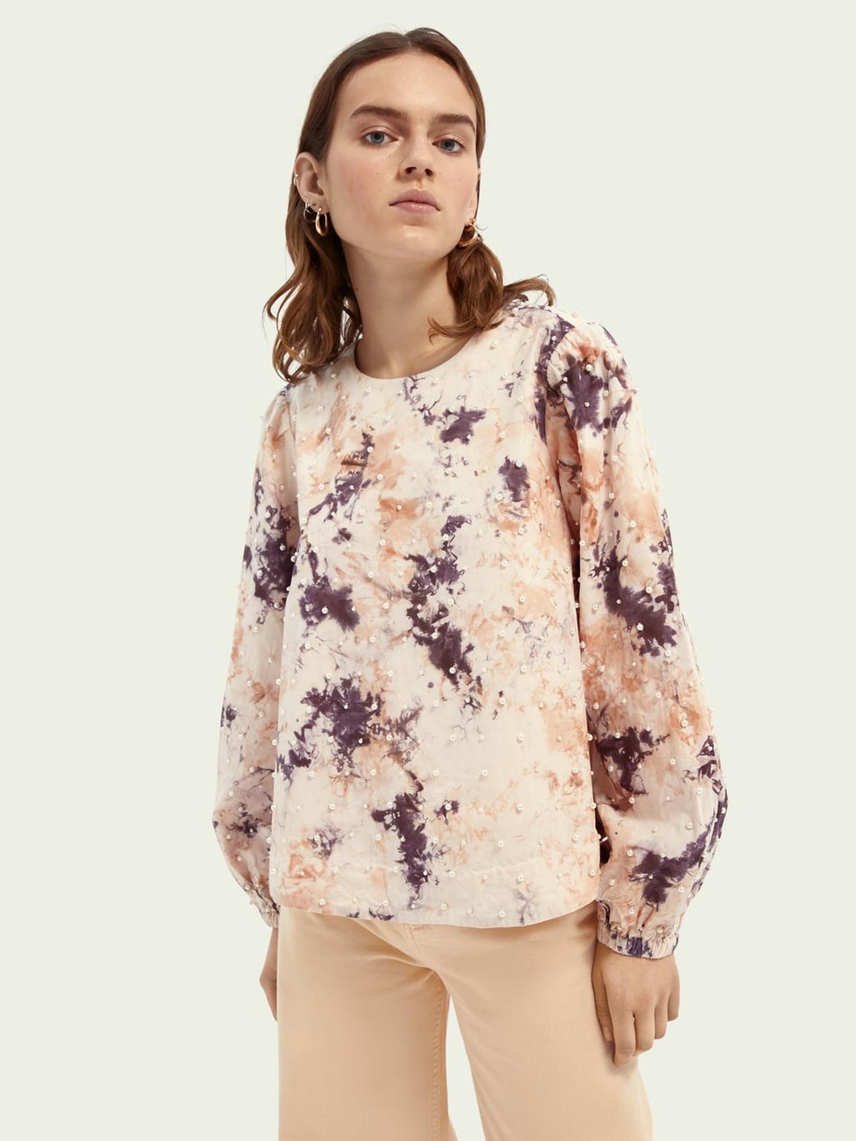 Блуза бежевая в принт | 5771098