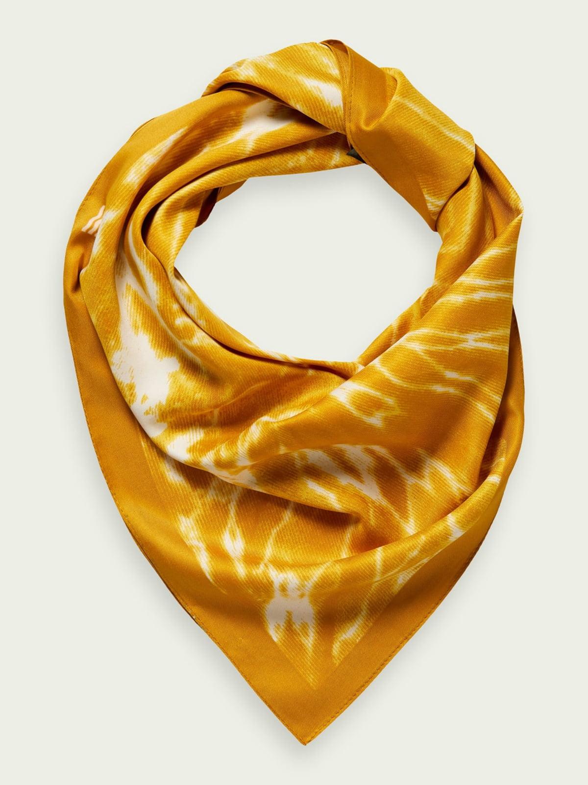 Платок ярко-желтый в принт | 5771136