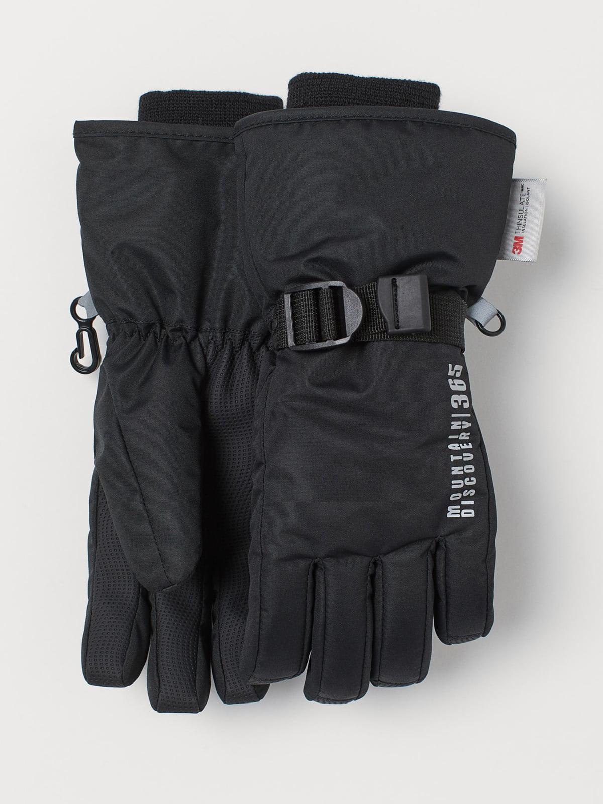 Перчатки черные с принтом | 5683354