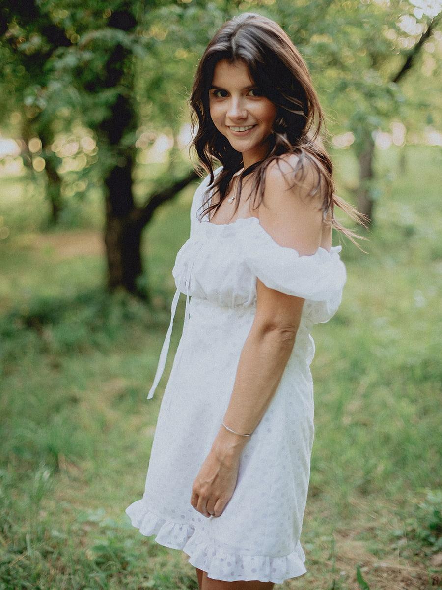 Платье белое в принт | 5809100