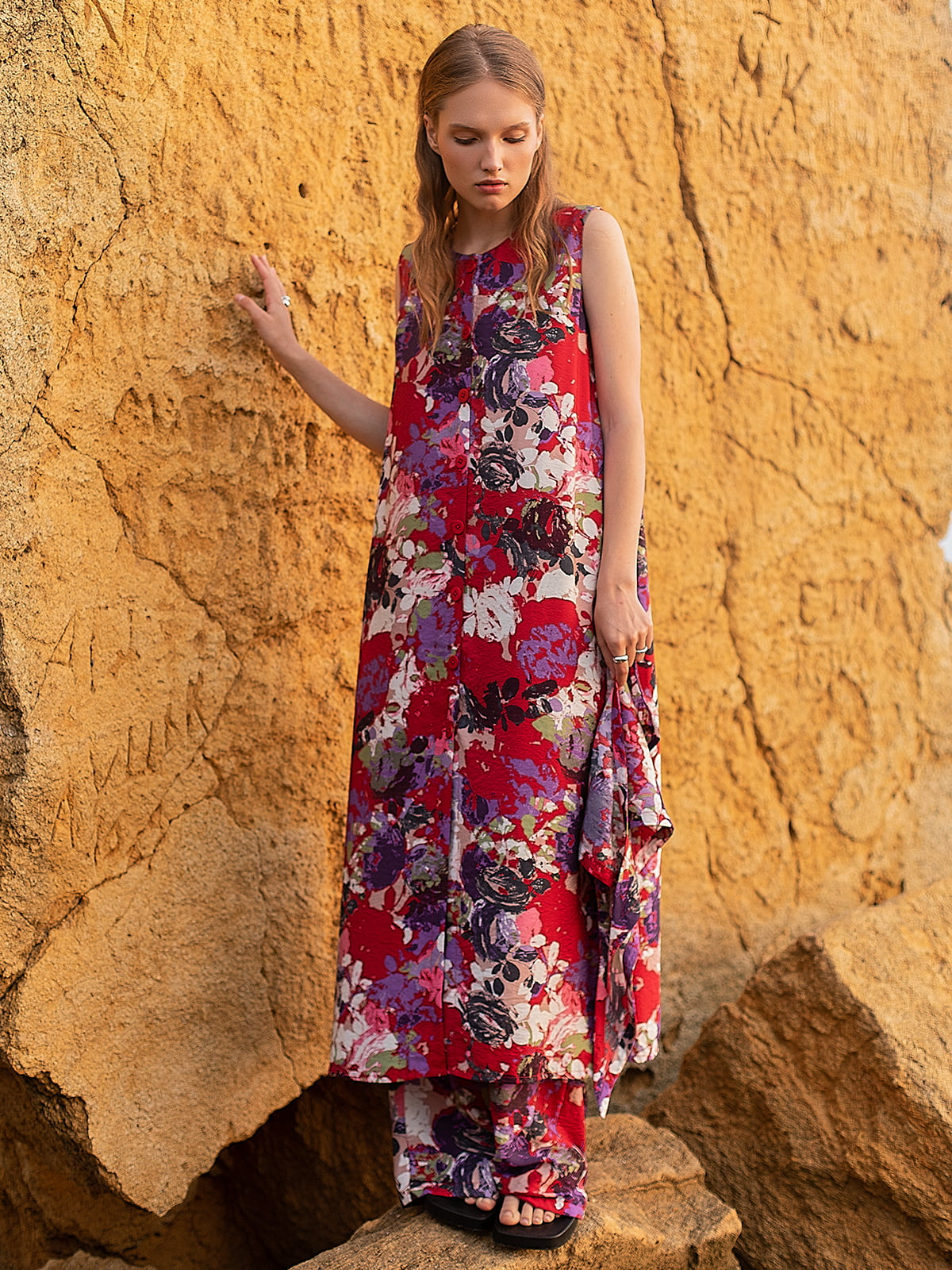 Платье красное в цветочный принт | 5821520