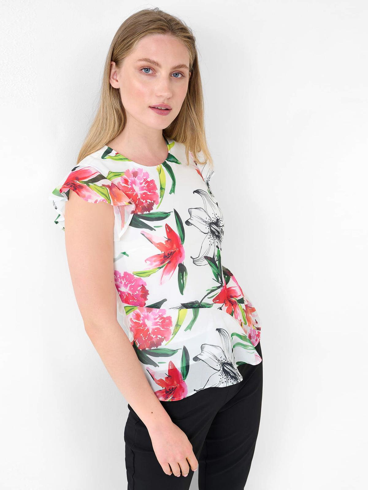 Блуза белая в цветочный принт   5828164