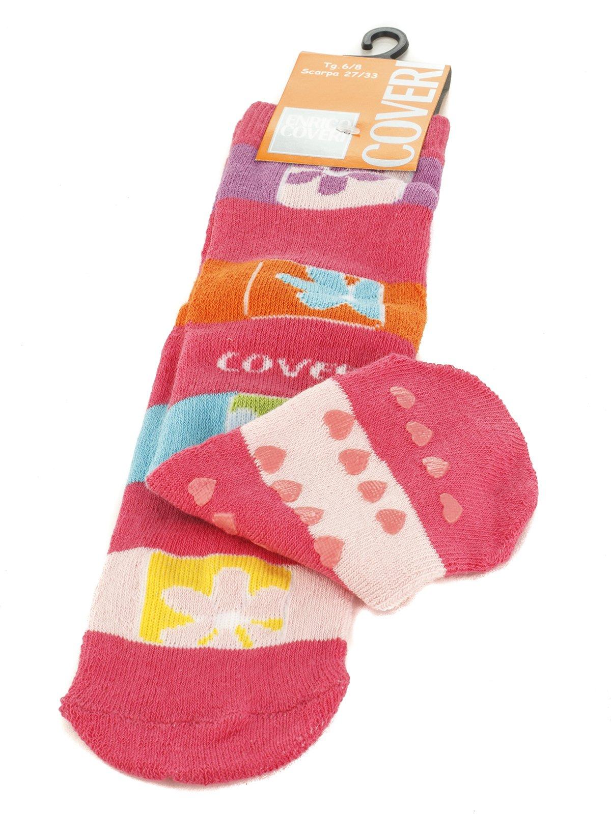 Шкарпетки рожеві з контрастними смужками | 576568