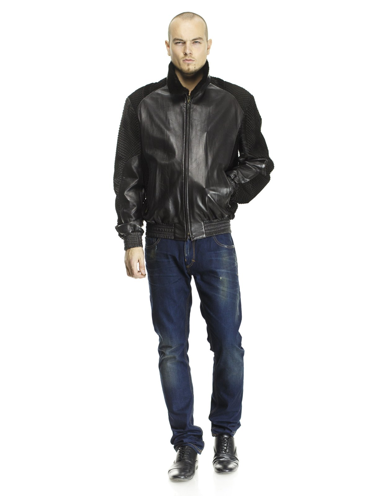 Куртка чорна з оздобленням з хутра кенгуру і коміром з хутра норки   662113