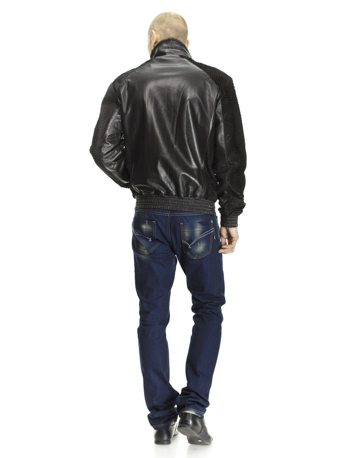 Куртка чорна з оздобленням з хутра кенгуру і коміром з хутра норки   662113   фото 2