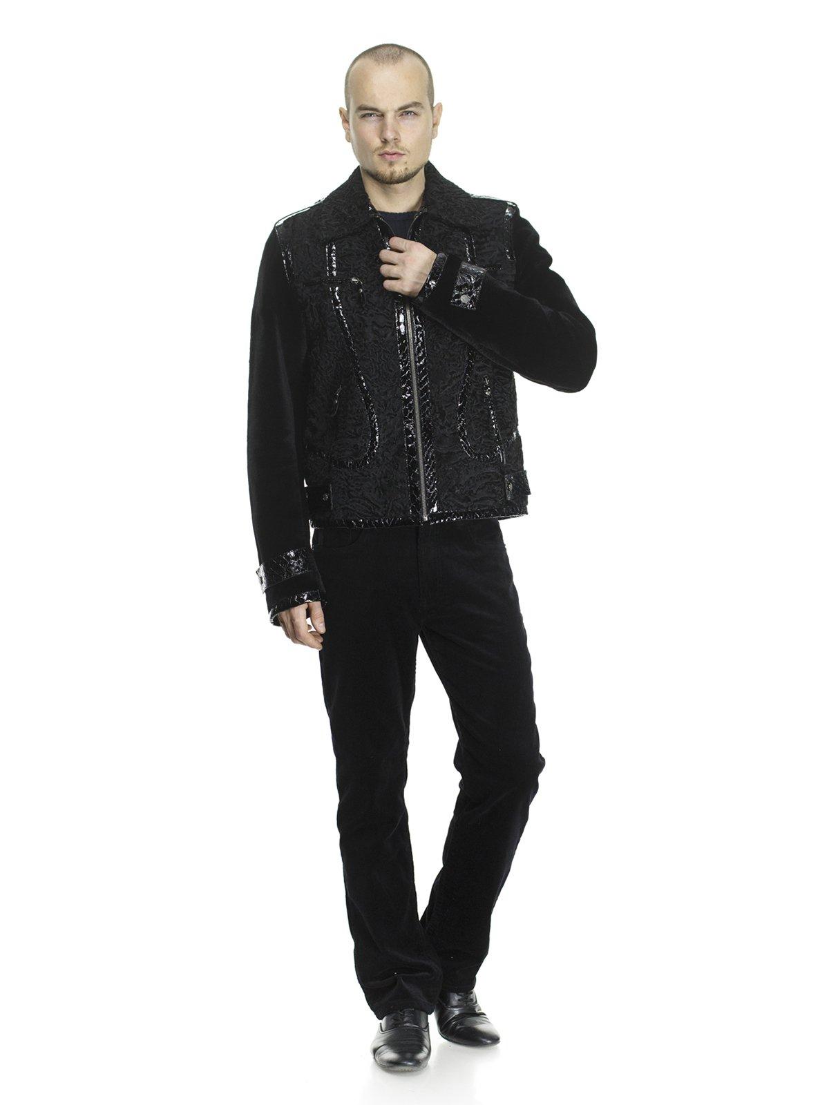 Куртка чорна комбінована з хутром кенгуру і каракуля | 692951
