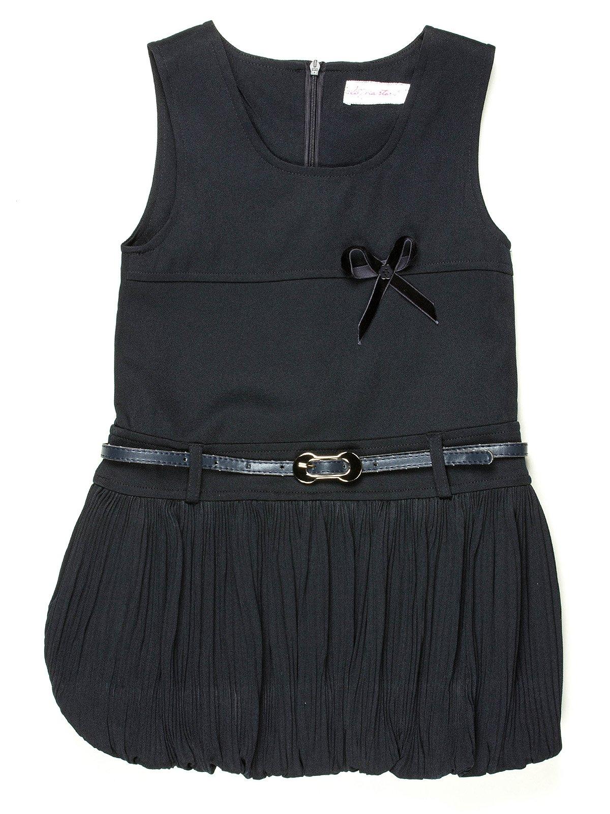 Сарафан темно-синий с юбкой-плиссе и ремешком   513979