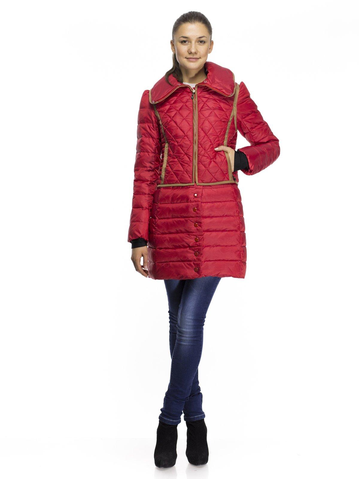 Пальто-трансформер красное пуховое | 254376