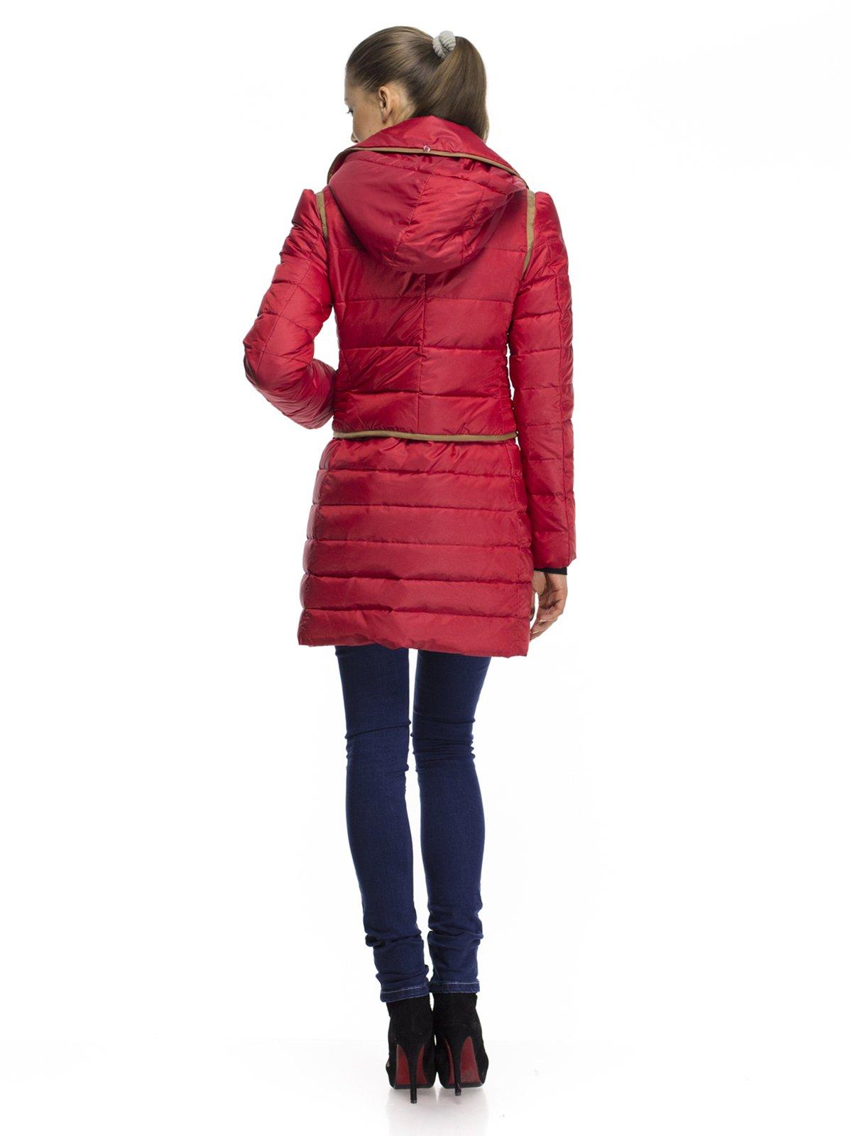 Пальто-трансформер красное пуховое | 254376 | фото 2