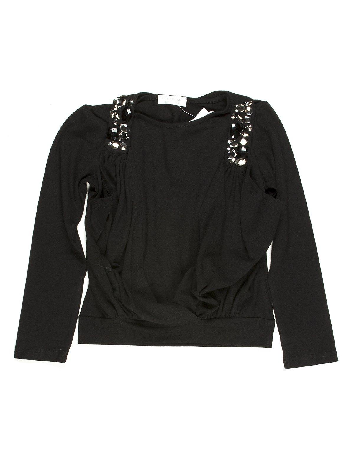 Джемпер черный со стилизованным жилетом | 649140