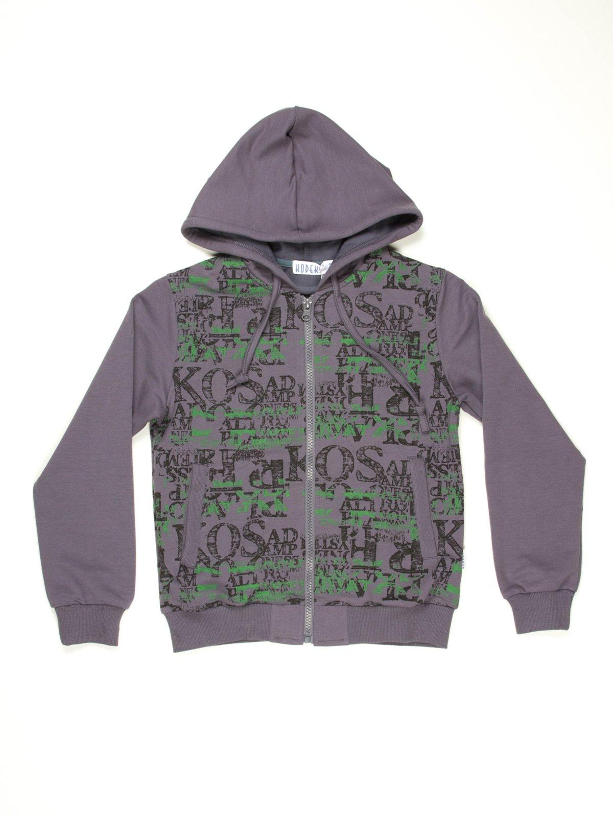 Толстовка цвета фанго с надписями, капюшоном и карманами   514058