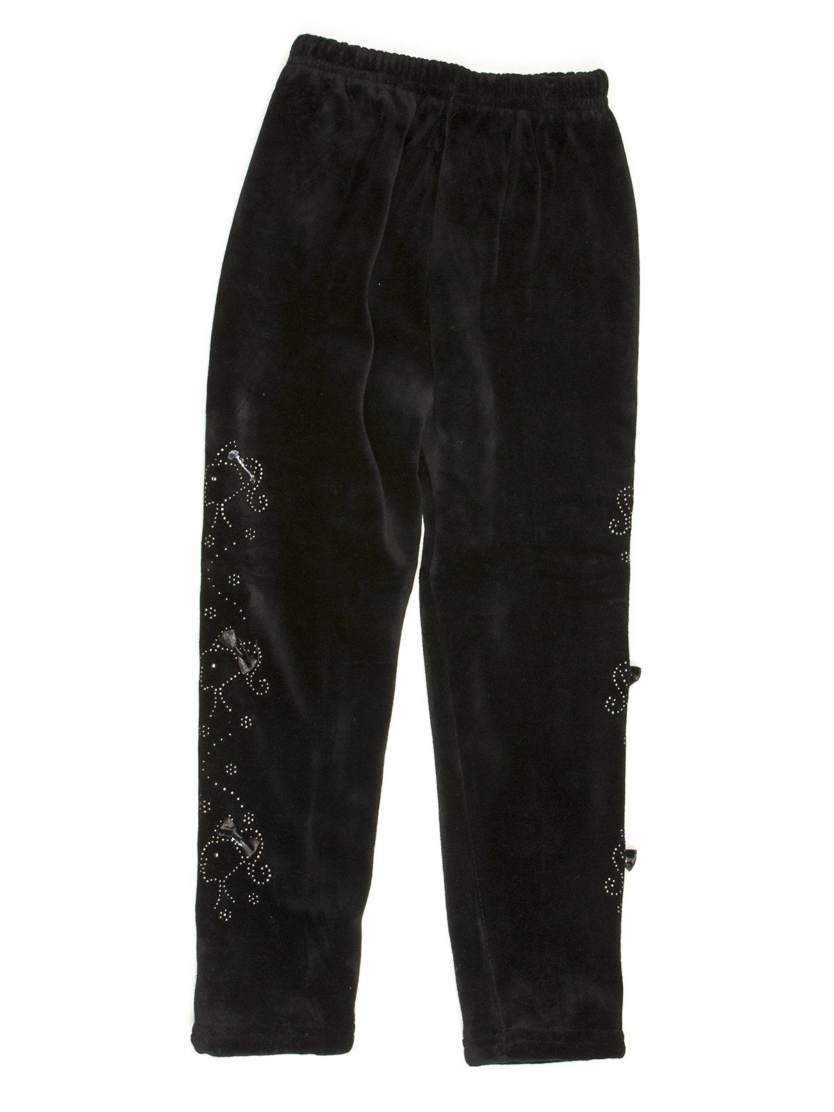 Леггинсы черные велюровые с декором | 576734