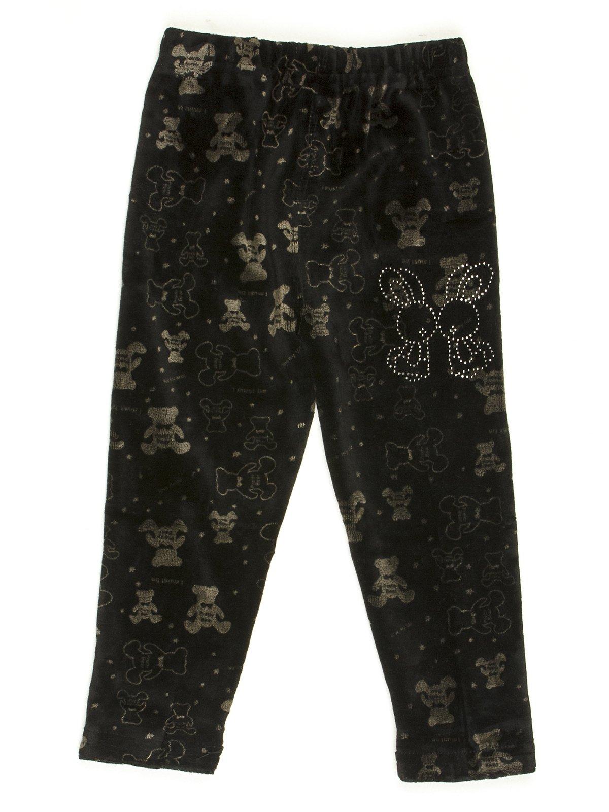 Леггинсы черные велюровые в рисунок с декором | 576735
