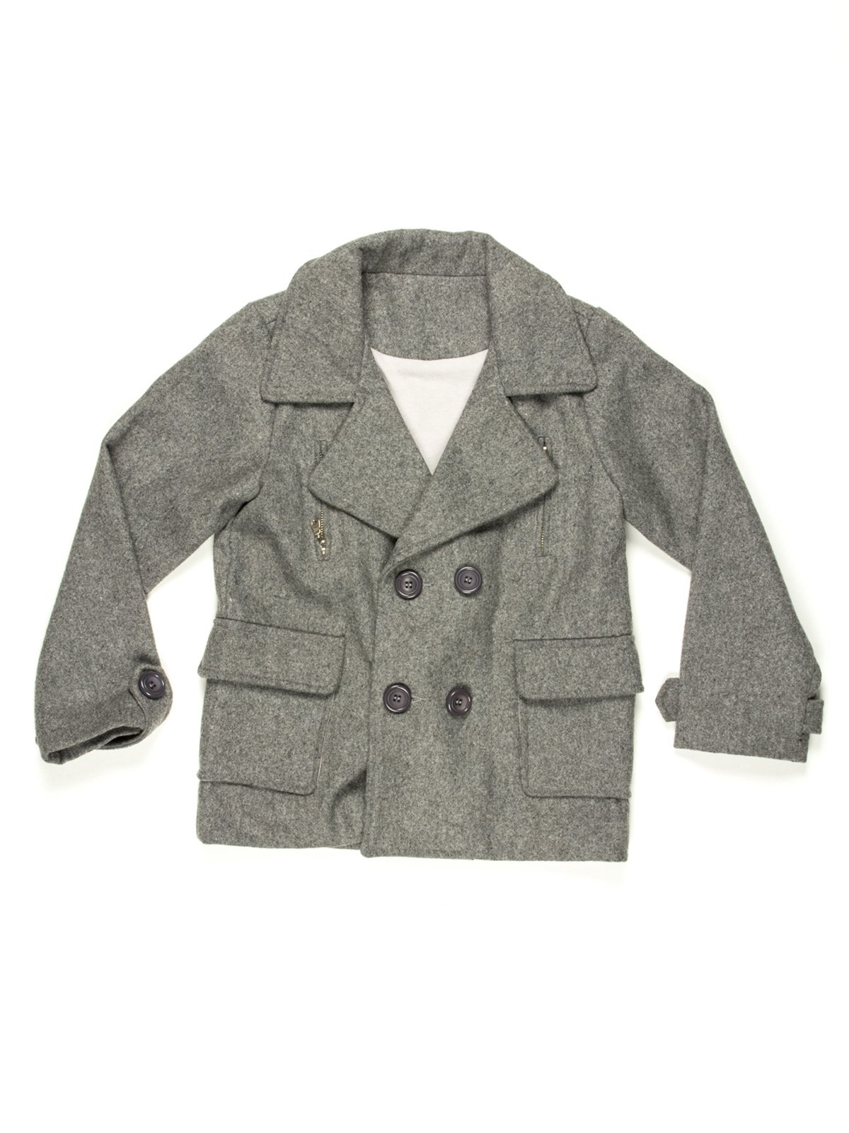 Пальто сіре двобортне   597241