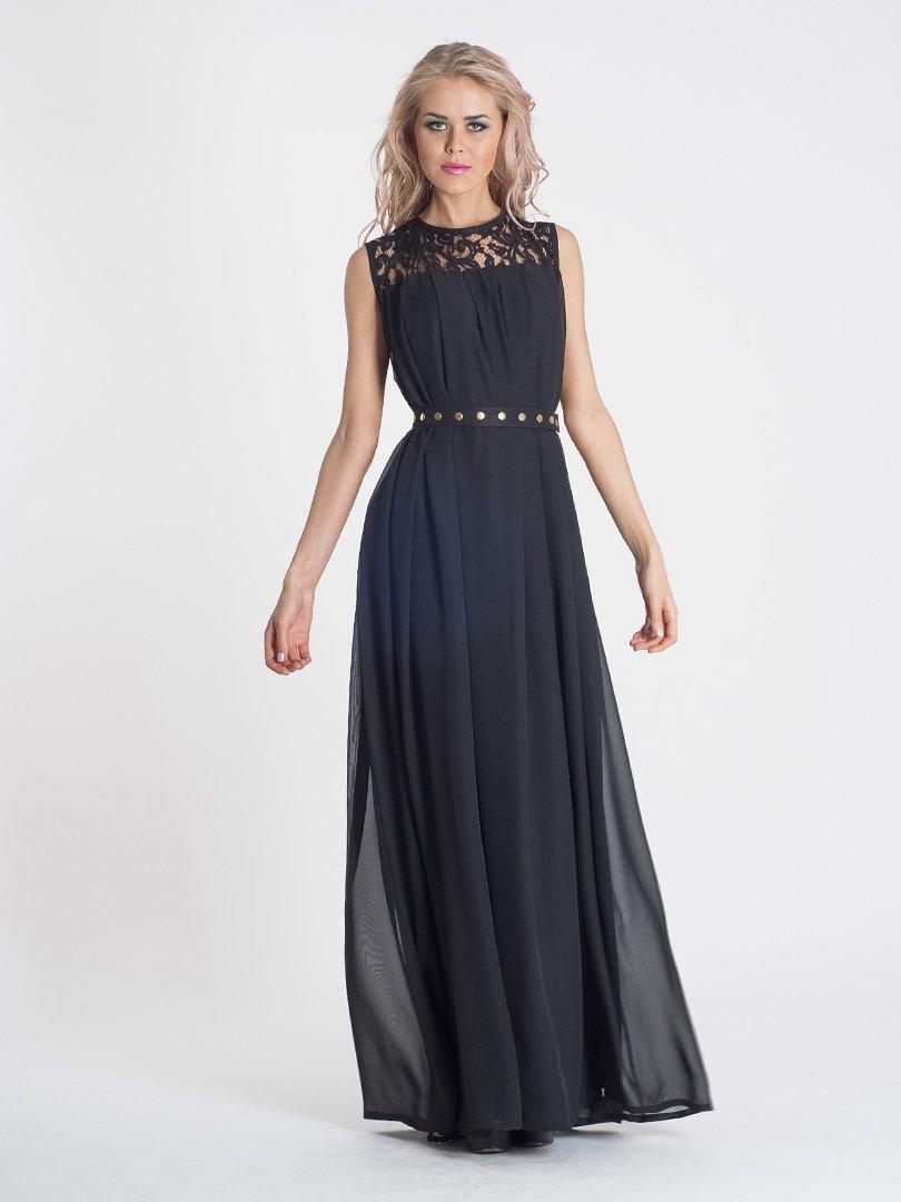 Сукня чорна з ажурною вставкою | 466249