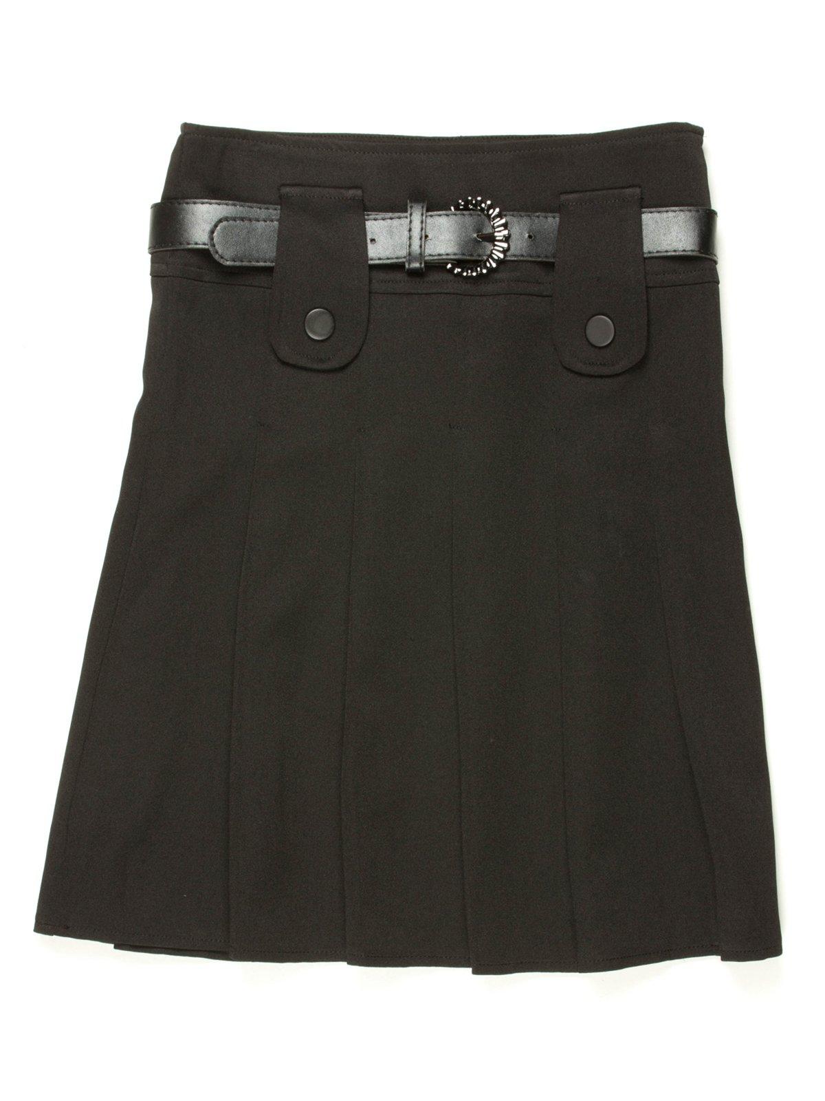 Юбка черная со складками и ремешком | 514120