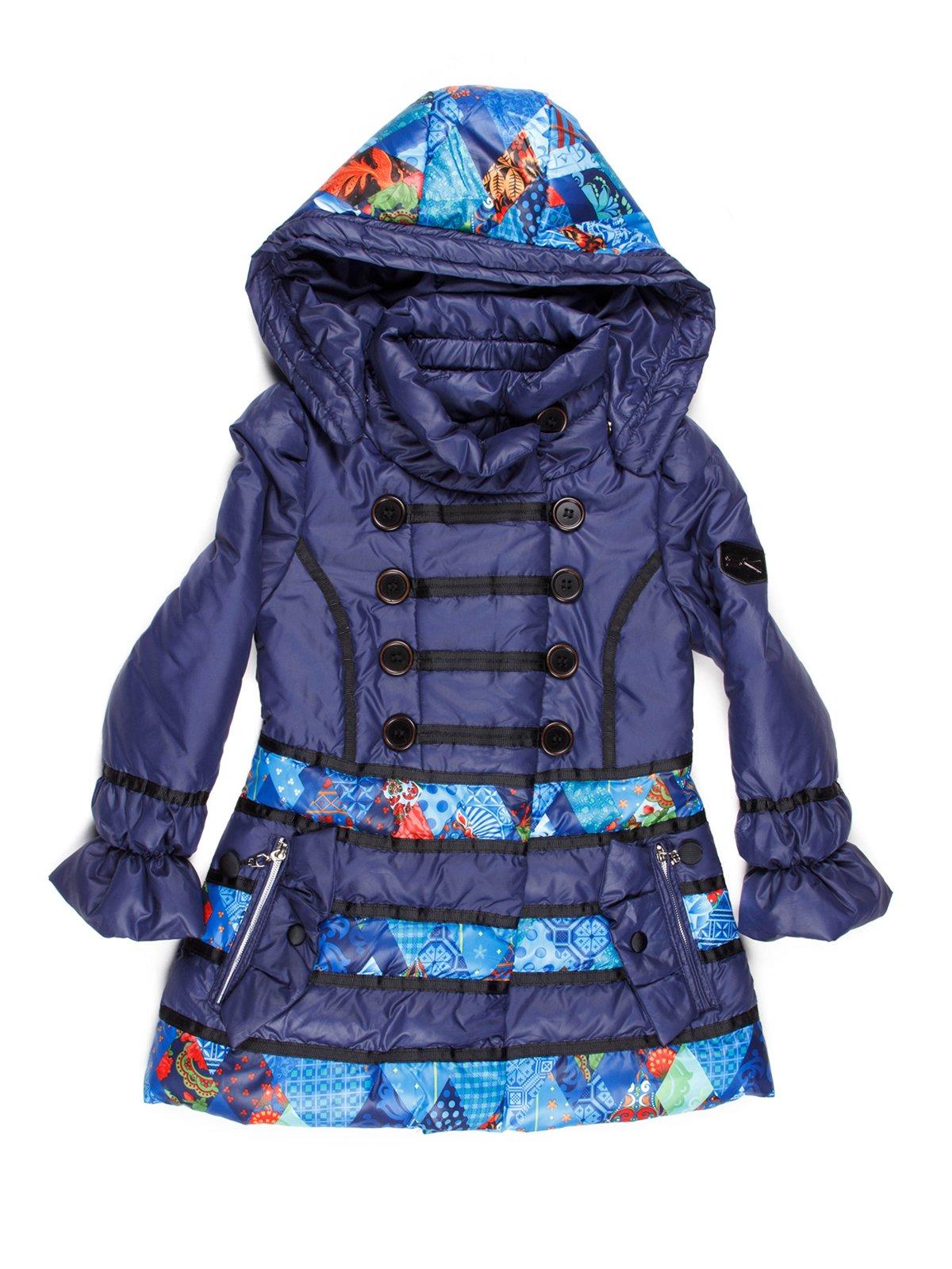 Куртка синяя в принт с капюшоном | 765019