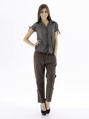 Брюки темно-коричневые со складками и карманами | 27784