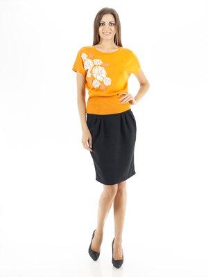 Джемпер ярко-оранжевый с цветочным принтом и аппликацией | 56919