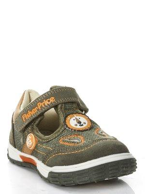 Туфли цвета хаки спортивные с вышивкой и аппликациями - Fisher Price - 460841
