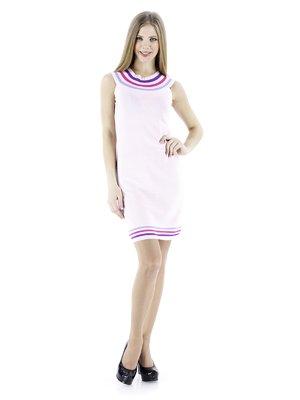 Платье розовое с контрастной отделкой   56925