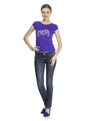 Футболка фиолетовая с принтом | 823198