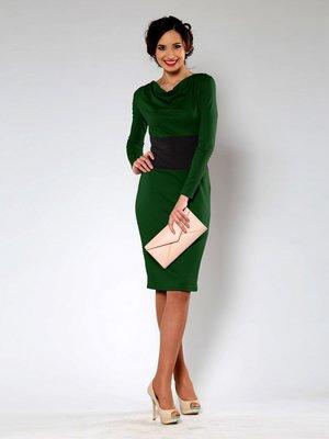 Платье зеленое с мягкой горловиной | 864941