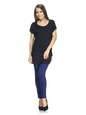 Блуза чорна з рюшами | 887632