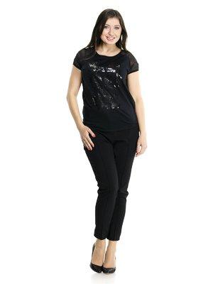 Блуза черная комбинированная с принтом | 913446