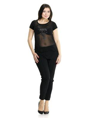 Блуза черная комбинированная с рисунком | 913442