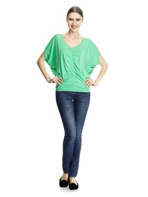 Блуза салатова зі складками | 913462