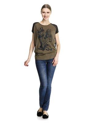 Блуза черно-коричневая комбинированная с принтом   913447