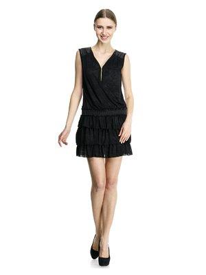 Платье черное с оборками | 913494