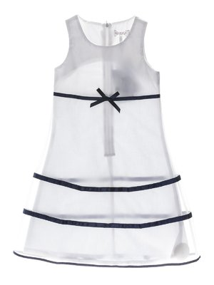 Платье белое с контрастной отделкой | 917519