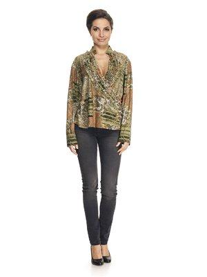 Блуза светло-зеленая в принт | 922986