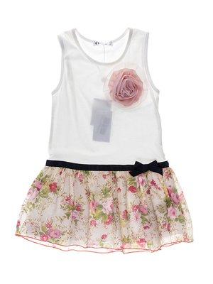 Туніка біла з квітковим принтом і квіткою | 933649