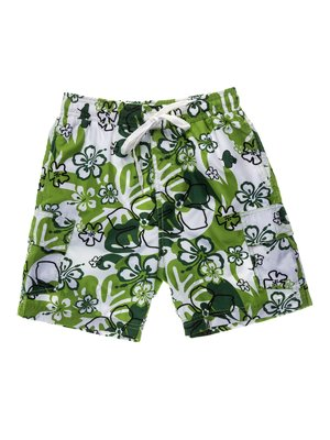 Шорты бело-зеленые в принт пляжно-купальные | 933689