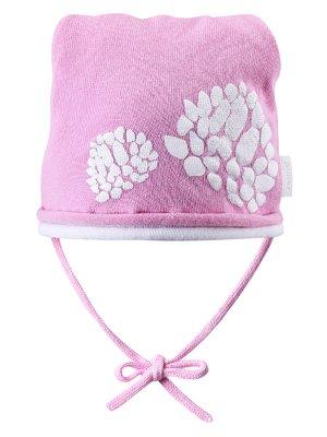 Шапка розовая с принтом | 942826