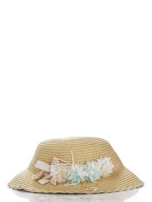 Шляпа бежевая с цветами | 987124