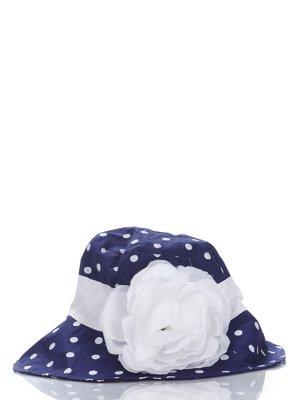 Панамка синя в горох з квіткою | 987143