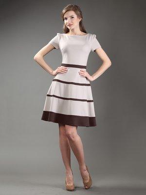 Платье бежевое с контрастной отделкой | 997184