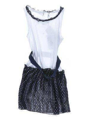 Платье бело-синее с отделкой в горох | 1001725