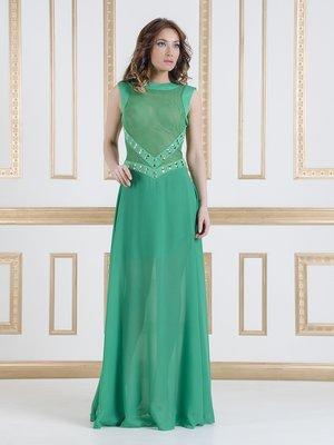 Платье зеленое декорированное   1029388