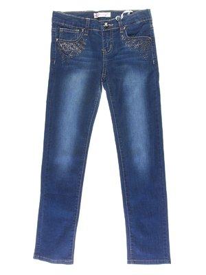 Джинси сині з ефектом потертих і декором | 1039074