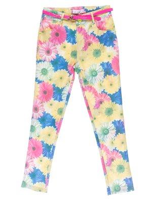 Штани квіткового забарвлення з ремінцем | 1039070