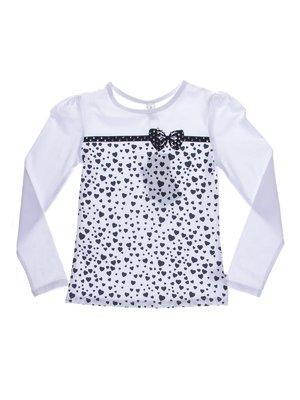 Джемпер белый в принт-сердечки с декором | 1039104